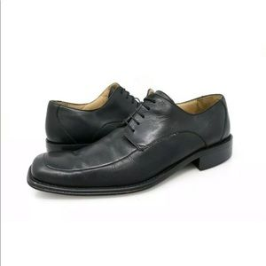 Kenneth Cole Oxford Shoes Black Leather Apron Toe